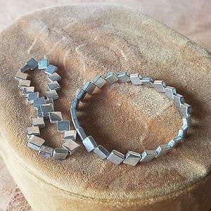 2 silver square beaded bracelets